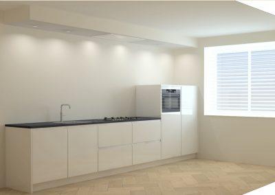 Rechte hoogglans witte keuken met verlaagd plafond in Amersfoort