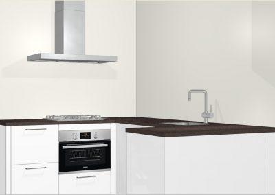 Moderne tijdloze U-keuken in appartement te Ede