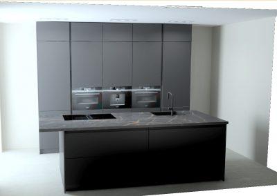 Zwart gelakt houtnerf keuken met eiland en kastenwand op maat tot aan het plafond in Vianen