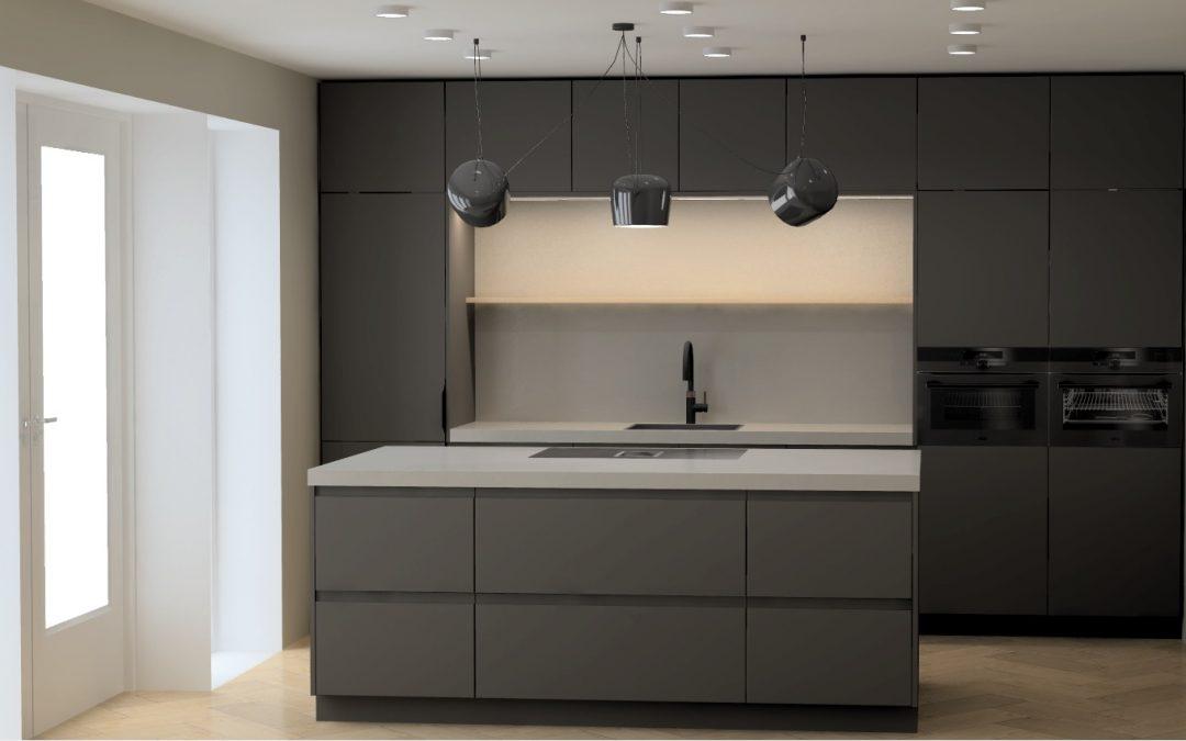 Mooie matzwarte woonkeuken met betonlook werkblad in Zwartebroek