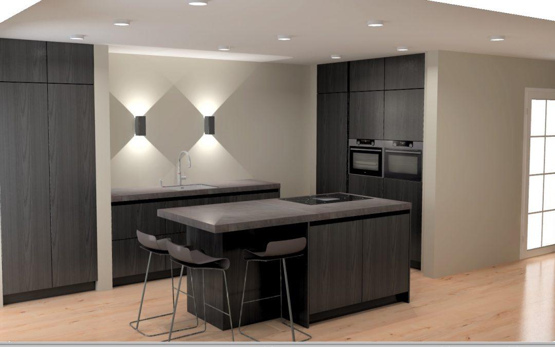 Moderne greeploze keuken, uitgevoerd in zwart houtfineer, te Soest