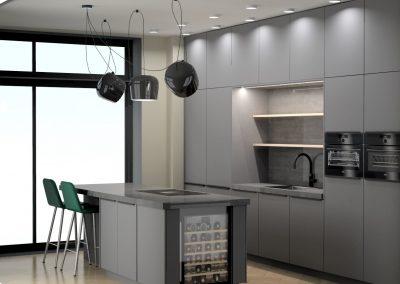 strakke keuken voorzien van alle luxe en veel opbergruimte in Vathorst, Amersfoort