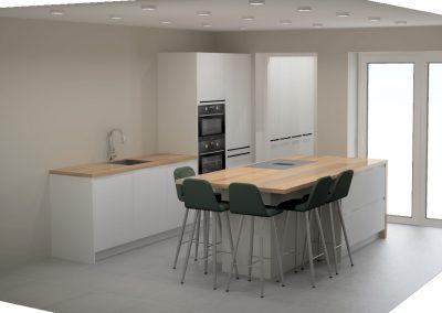 Ruime lichte greeploze keuken en bijkeuken in Den Haag